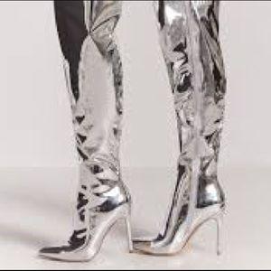 Chrome Thigh high boots